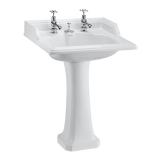 Classic round 65cm basin with invisible overflow and Classic pedestal