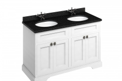 Freestanding 130 Vanity Unit with doors - Matt White and Minerva black granite worktop