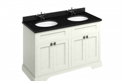 Freestanding 130 Vanity Unit with doors - Sand and Minerva black granite worktop
