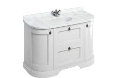 Freestanding 134 Curved Vanity Unit with drawers - Matt White and Minerva Carrara white worktop with integrated white basin