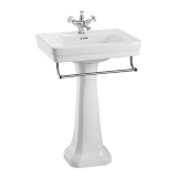 Contemporary 57.5cm basin, towel rail and regal pedestal