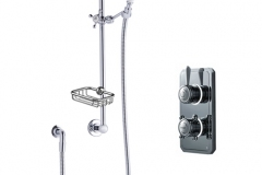 Classic 1910 dual outlet shower set with wall arm, slide bar and soap backet - high pressure