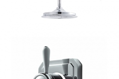 Classic 1910 single outlet shower set with ceiling arm - high pressure