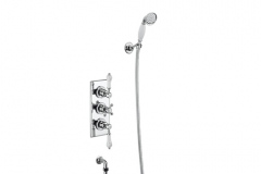 Trent Thermostatic Two Outlet Concealed Shower Valve , Fixed Shower Arm, Handset & Holder with Hose with 6 inch rose